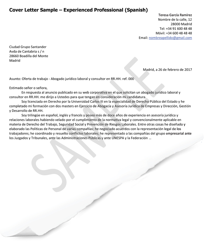 Cover Letter Samples Spain Goinglobal